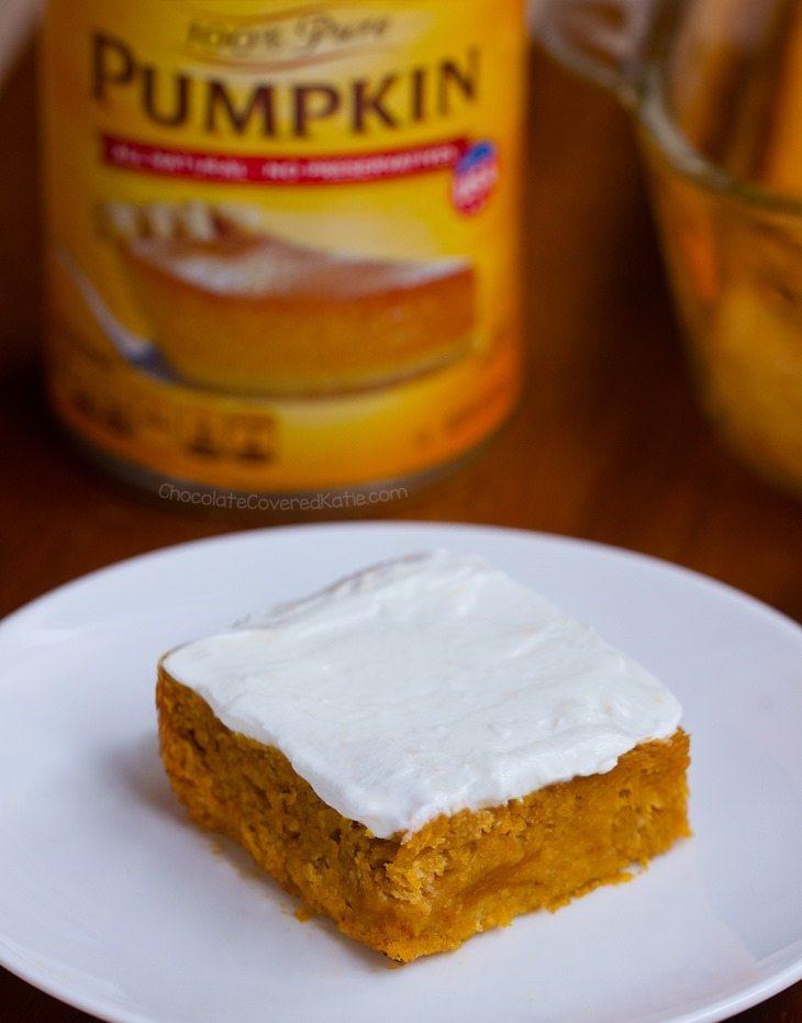Pumpkin Snack Cake – With Maple Greek Yogurt Frosting