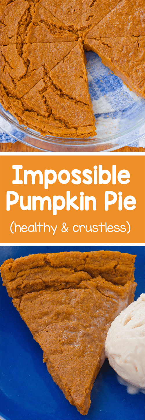 Homemade & crustless pumpkin pie with a soft, custard-like texture - only 70 calories per slice! https://chocolatecoveredkatie.com/2016/11/14/impossible-pumpkin-pie-vegan/