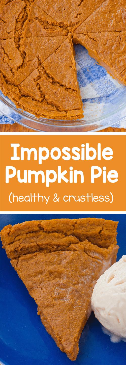 Homemade & crustless pumpkin pie with a soft, custard-like texture - only 70 calories per slice! https://chocolatecoveredkatie.com/2016/11/14/impossible-pumpkin-pie-vegan/
