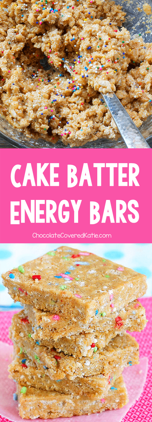 Just 6 ingredients, kid-friendly healthy cake batter protein bars that can be vegan & gluten free. Recipe from @choccoveredkt