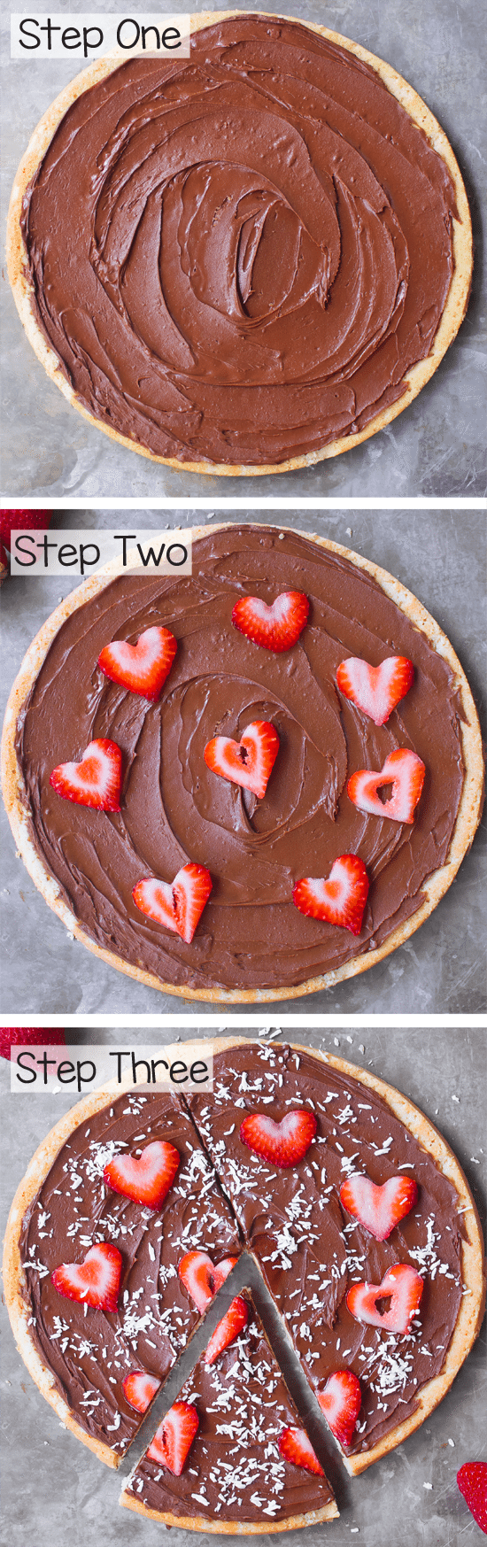 A simple dessert pizza recipe, can be flourless, vegan, paleo, gluten-free, and sugar-free.