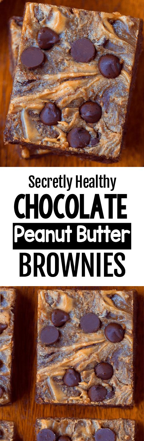 Secretly Healthy Peanut Butter Swirl Brownie Recipe