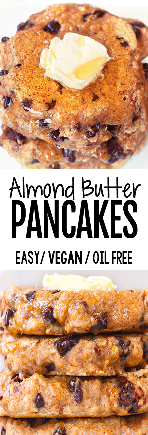 Super Healthy Almond Butter Pancakes (Oil Free, Vegan, 5 Ingredients)