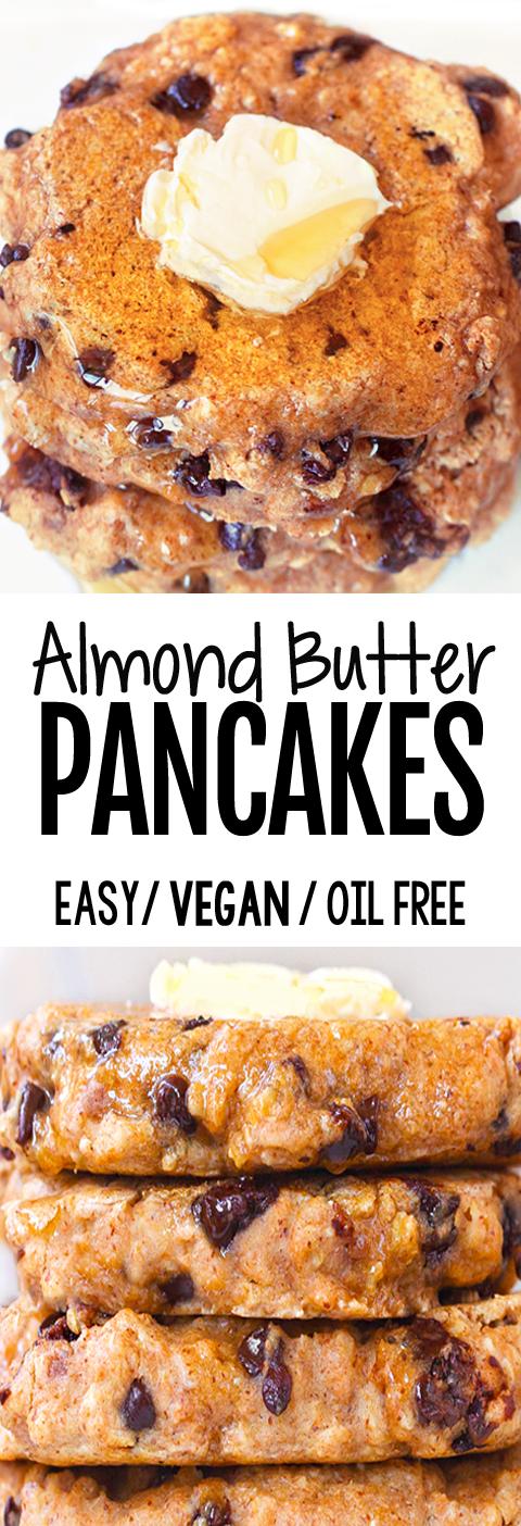 Super Healthy Almond Butter Pancakes (Oil Free, Vegan, 5 Ingredients)