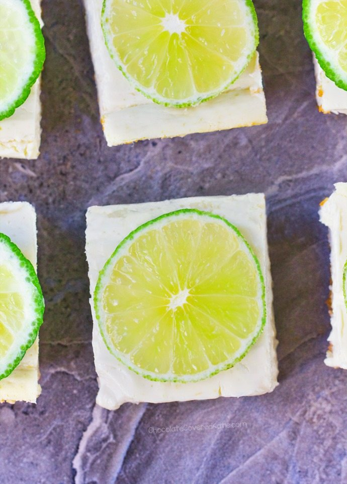 """The best part about these """"skinny"""" key lime pie squares is how deliciously light & creamy they are!"""