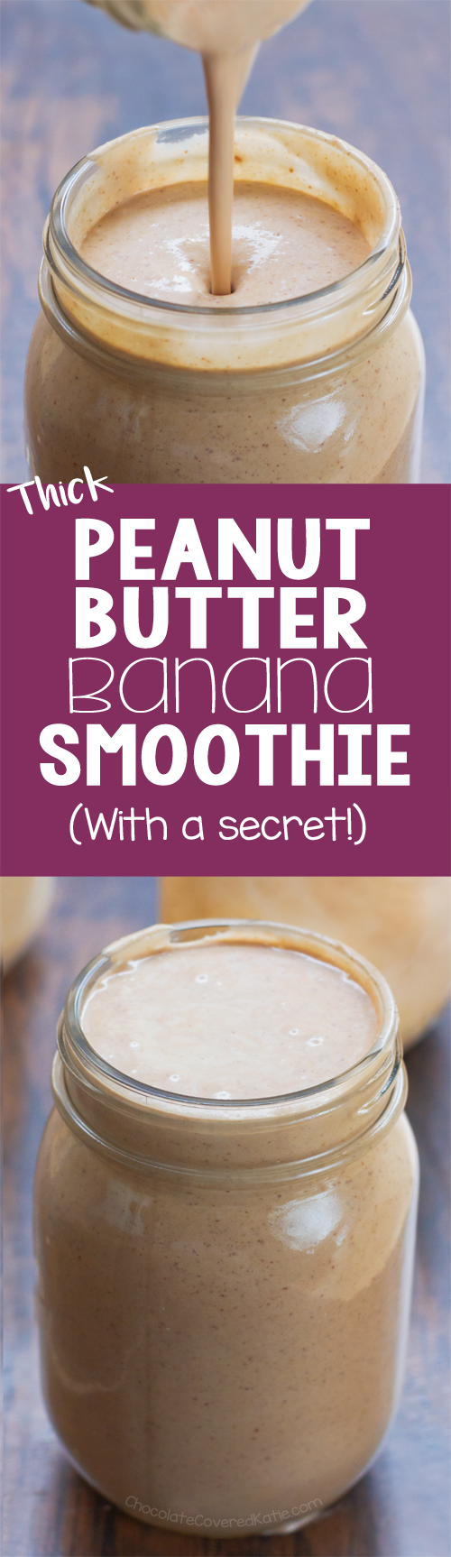 This ultra thick and creamy peanut butter banana smoothie recipe tastes like a milkshake but is actually good for you! @choccoveredkt