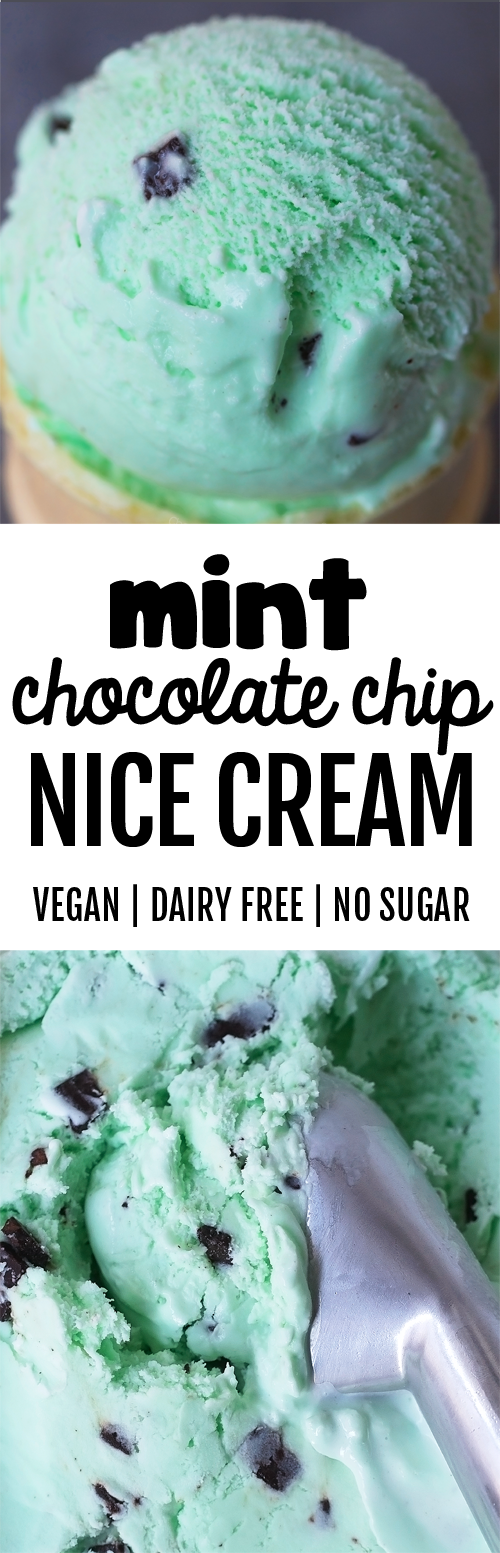 Mint Chocolate Chip Nice Cream with No Sugar and No Dairy