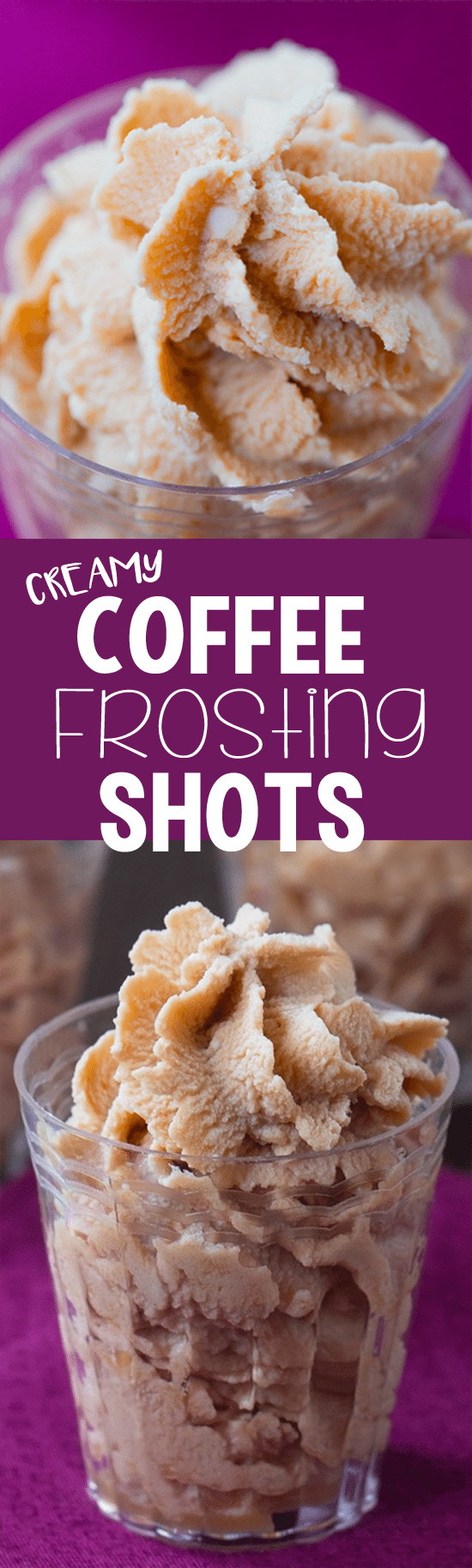 Just FOUR ingredients to make these swirly coffee frosting shots!