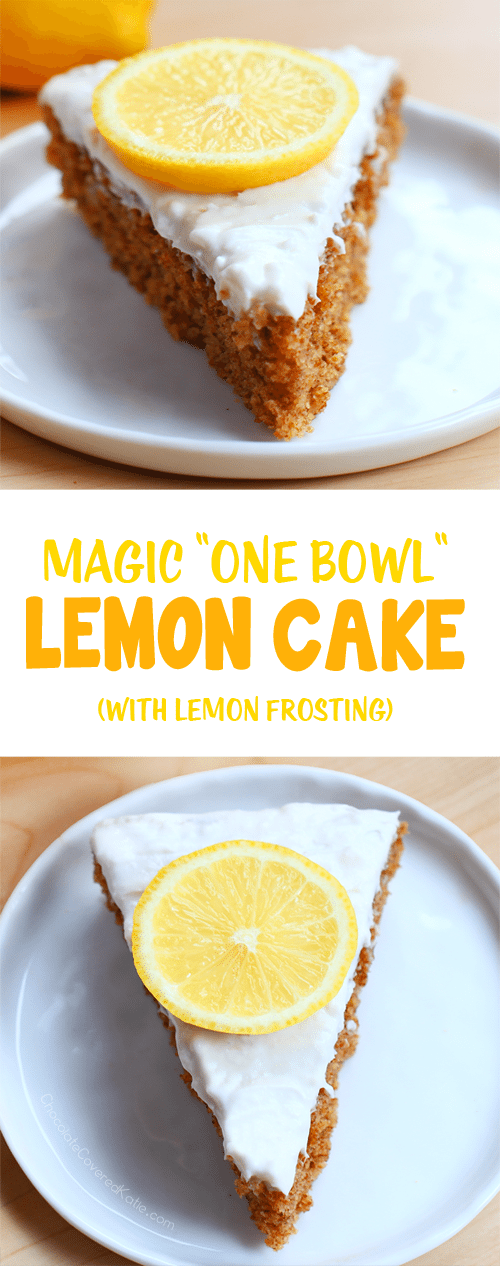 "A simple ""one bowl"" lemon cake, with ultra light & creamy frosting. Recipe: https://chocolatecoveredkatie.com/2017/05/18/lemon-cake-homemade-one-bowl/"