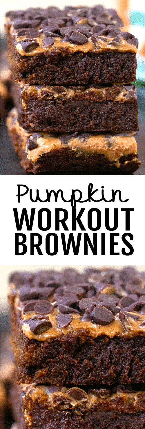 The BEST Healthy Chocolate Pumpkin Workout Brownie Recipe