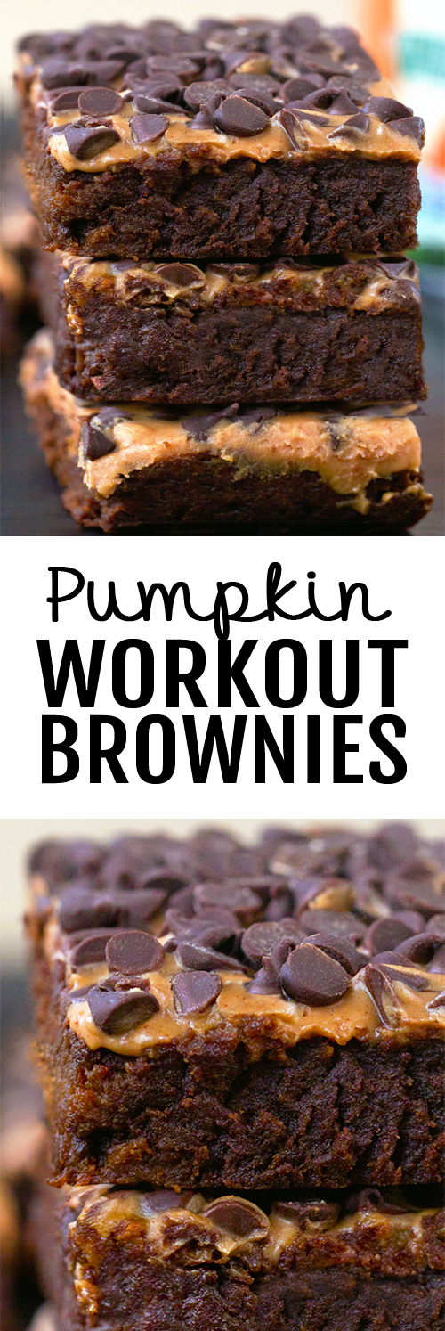 The BEST Healthy Chocolate Pumpkin Workout Brownies