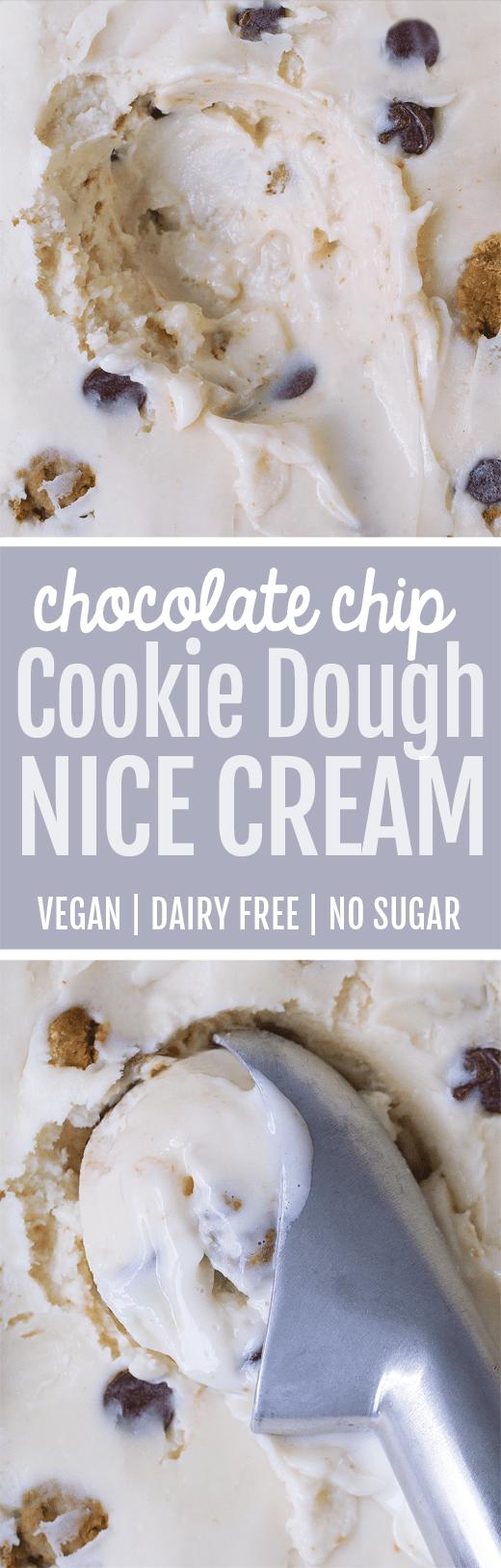Creamy cookie dough nice cream – dairy free, vegan, & no added sugar.