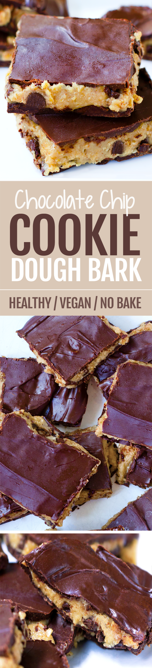 Soft cookie dough bars with a rich chocolate coating, just 8 ingredients and totally vegan! #vegan #chocolate #dessert #healthy