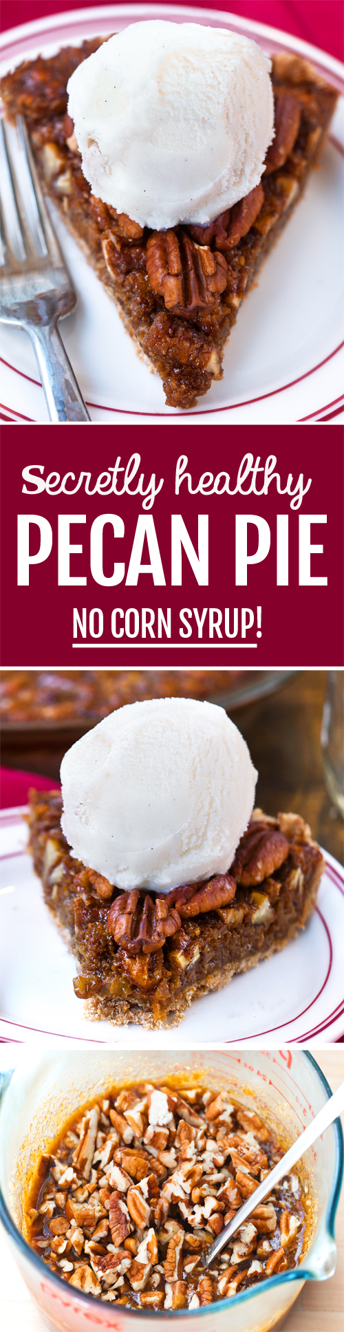 How does this magic pecan pie have just HALF the calories and sugar of traditional? It's a healthy pecan pie recipe of dreams!