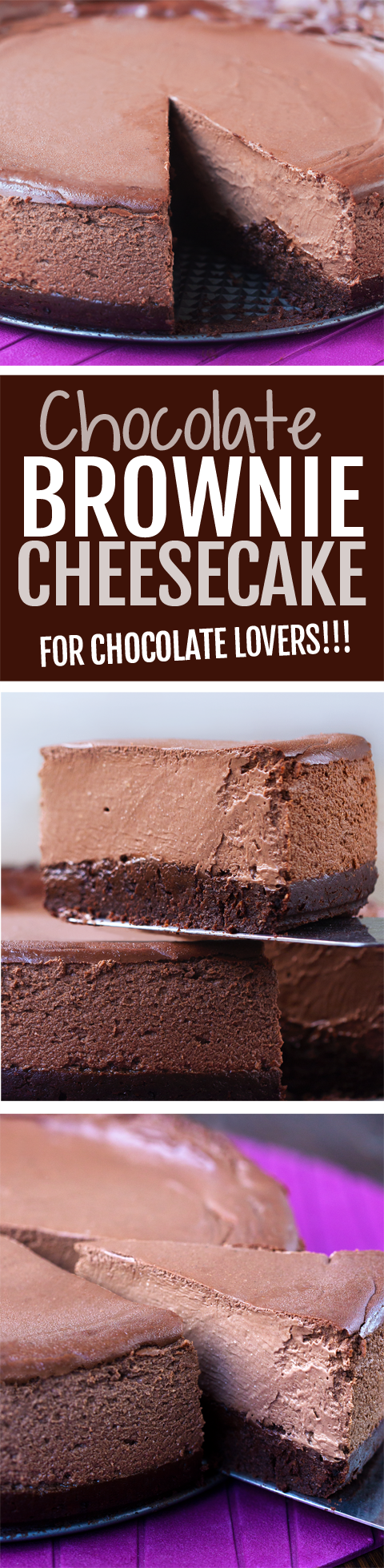 This rich chocolate brownie cheesecake recipe is 100 times better than anything from Cheesecake Factory!