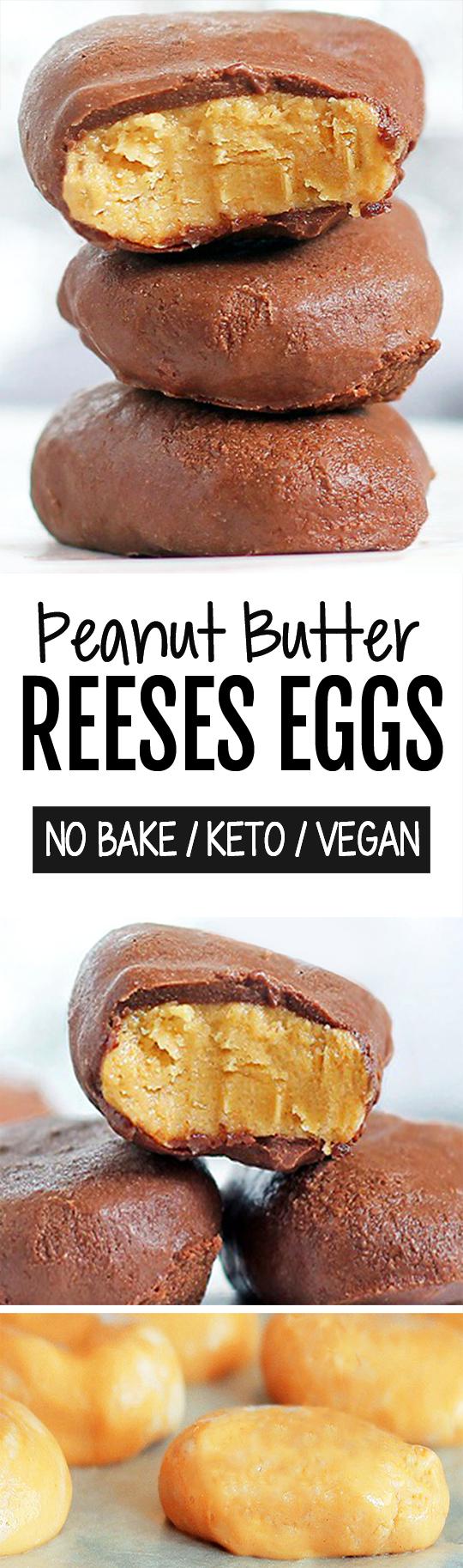 Easy Homemade Reeses Peanut Butter Eggs (Vegan, Keto, No Bake)