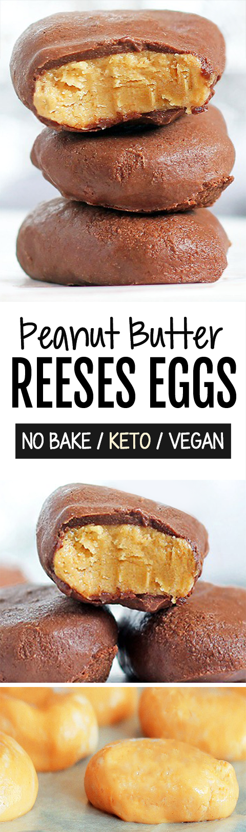 Easy NO BAKE Reeses Peanut Butter Eggs (Vegan, Keto Friendly)