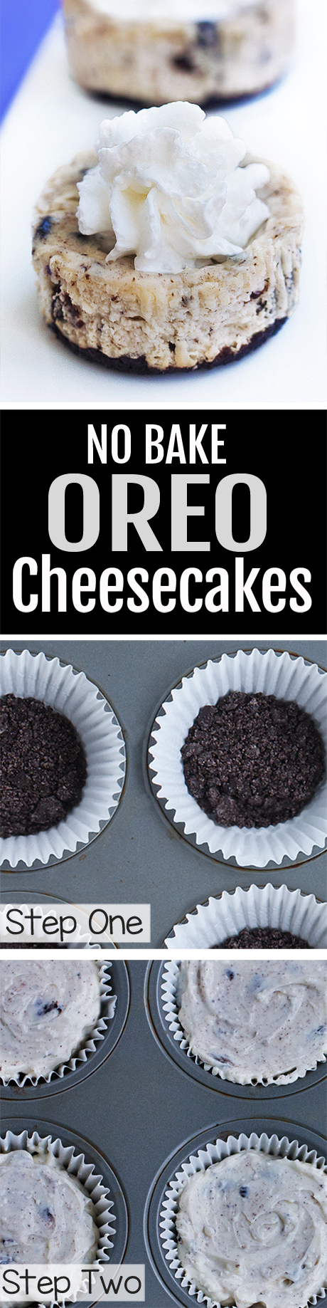Mini Oreo Cheesecakes, NO Baking Required!