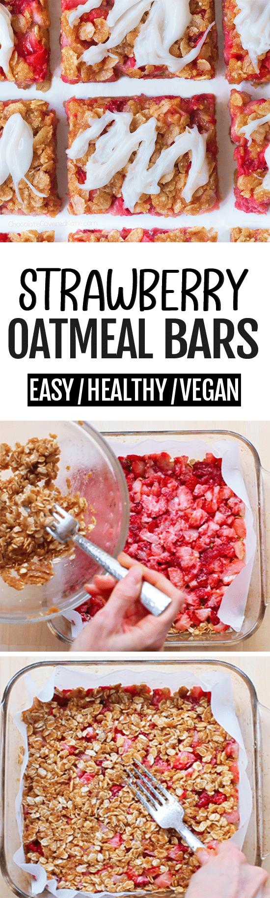 Super Healthy Strawberry Oatmeal Breakfast Bars