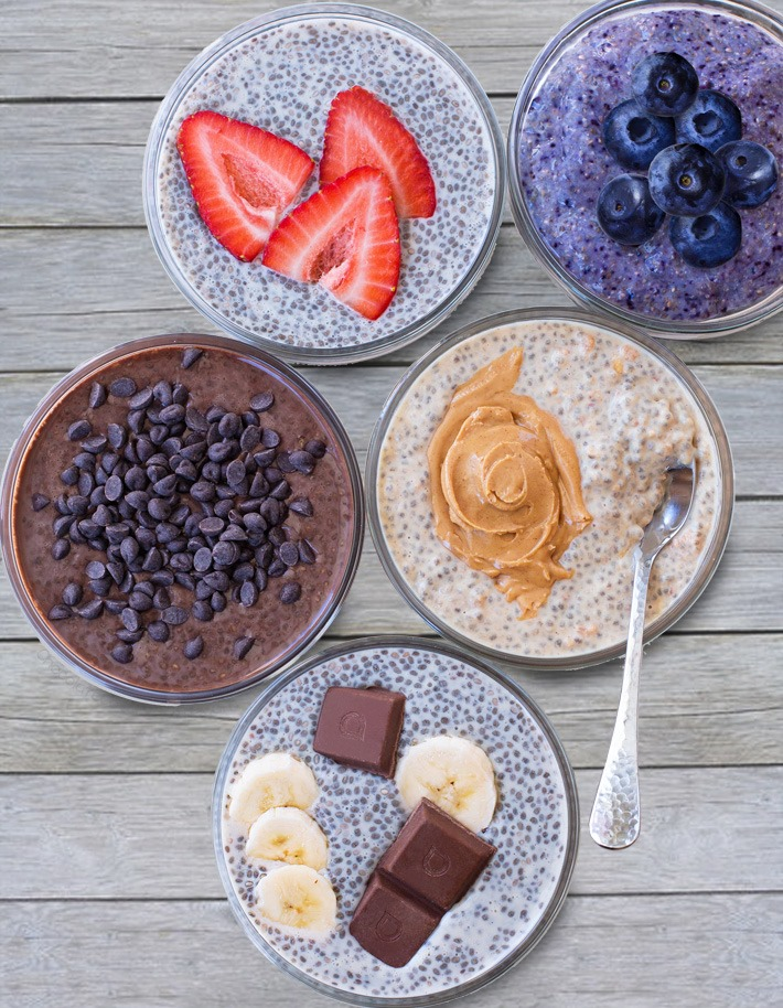 Chia Pudding Recipes - chocolate, vanilla, blueberry, banana, and peanut butter