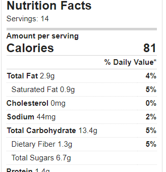 Nutrition Facts – Chocolate Chip Cookies