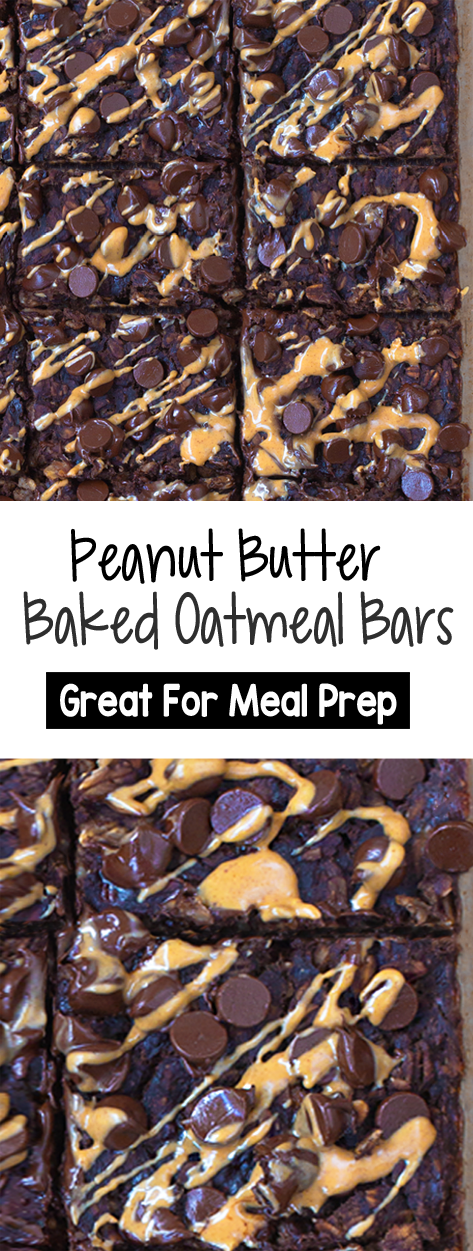 Chocolate Peanut Butter Brownie Baked Oatmeal Bars To-Go, great for meal prep