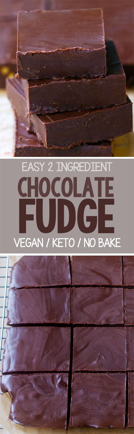 Two Ingredient Chocolate Fudge - the easiest recipe ever, and it's so good! (Vegan)