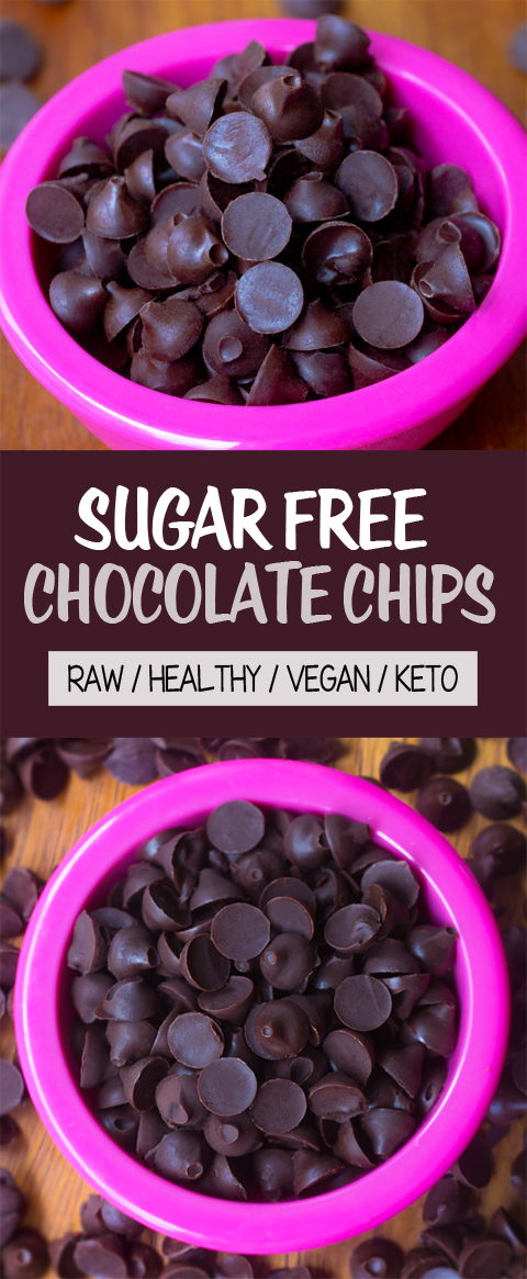 Sugar Free Chocolate Chips (Keto, Vegan, Raw, Healthy)
