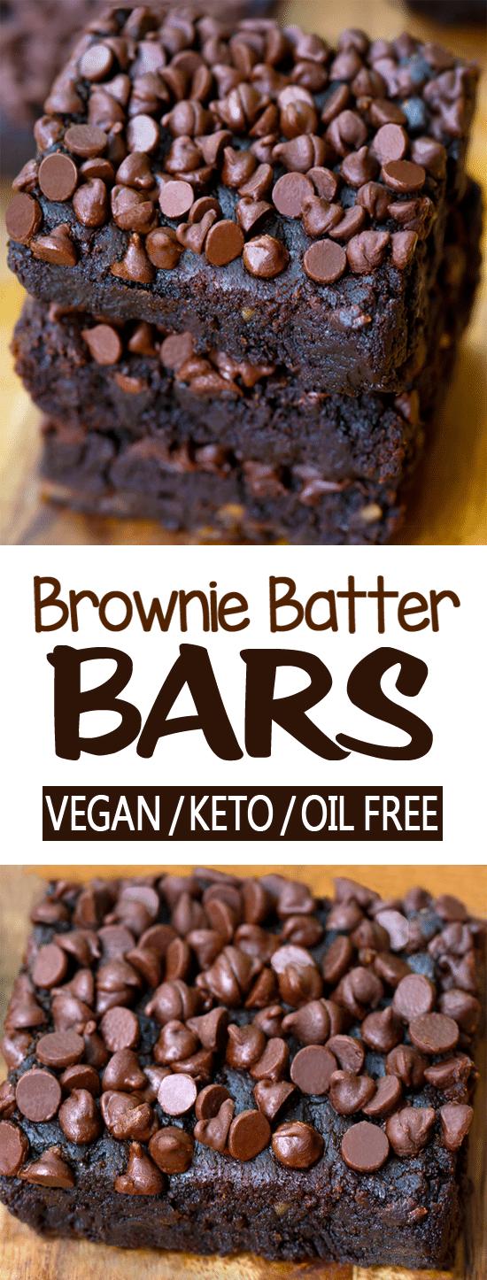 Chocolate Brownie Batter Bar Recipe (Vegan, Oil Free, Keto)