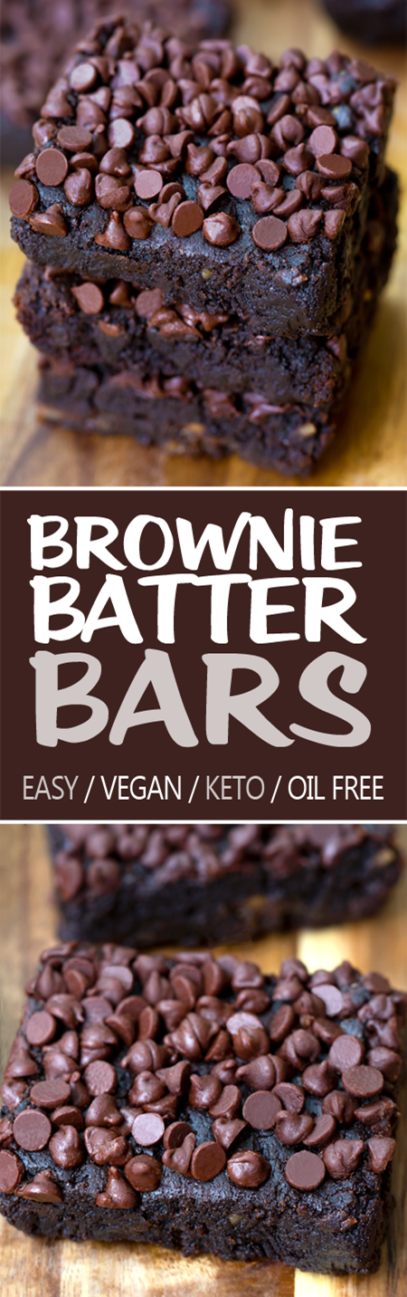 Fudgy Brownie Batter Bars (Vegan, Oil Free, Keto Option)