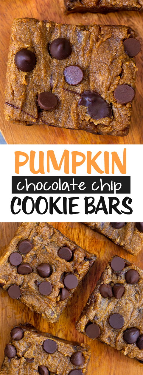 Gooey Pumpkin Chocolate Chip Bars - like a cross between chocolate chip cookies and homemade pumpkin pie