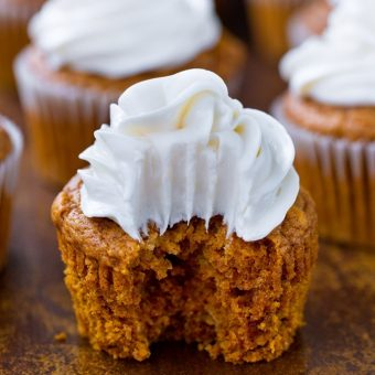 Pumpkin Cupcakes – With Cream Cheese Frosting