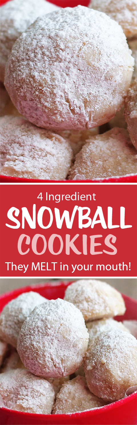 4 Ingredient Snowball Cookies!