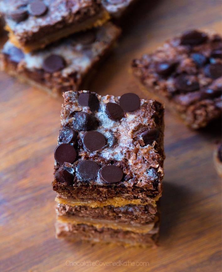 Coconut Chocolate Chip Seven Layer Bars (Grain Free, Paleo)