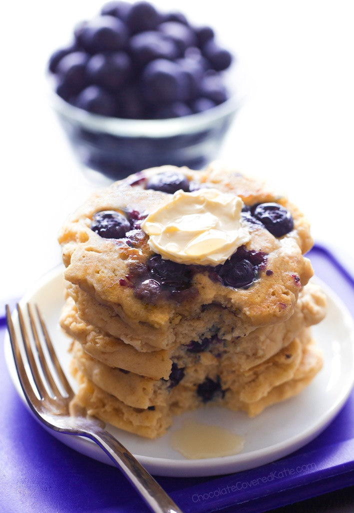 The Best Fluffy Vegan Blueberry Pancakes