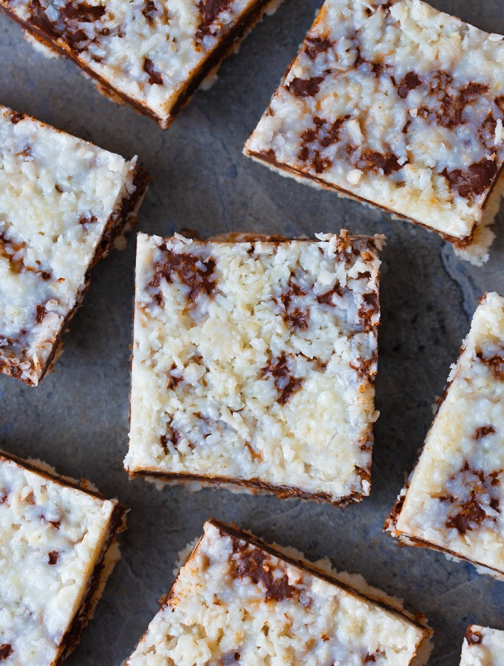 GOOEY Chocolate Fudge Coconut Bars