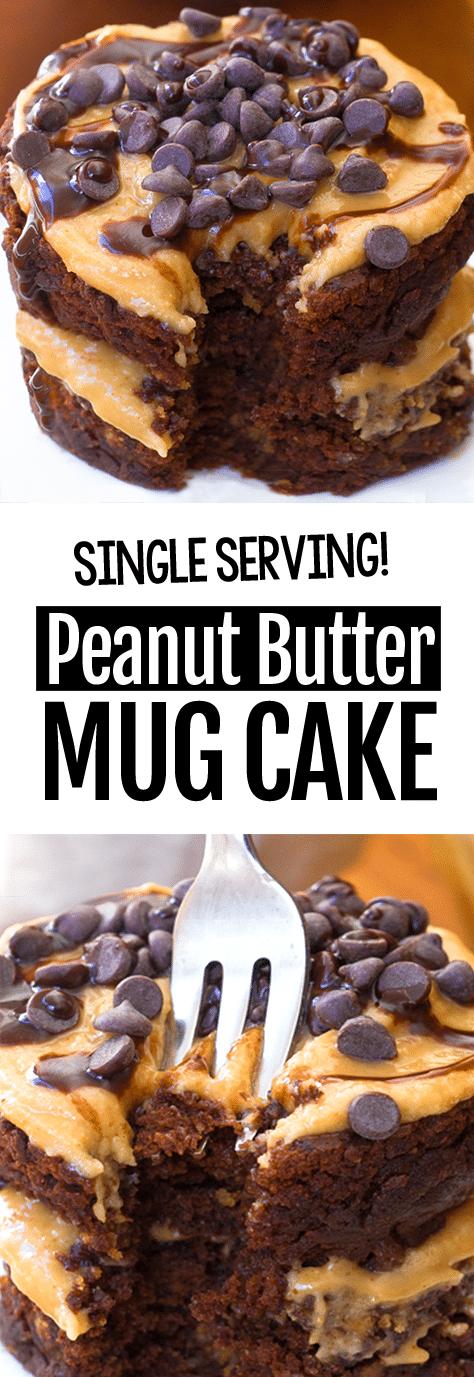Single Serving Easy Chocolate Peanut Butter Mug Cake Recipe