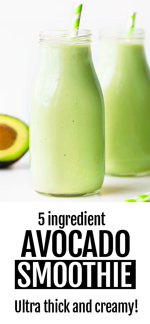 Super Healthy 5 Ingredient Creamy Vegan Avocado Smoothie Recipe