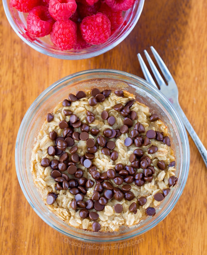 Single Serving Chocolate Chip Cookie Dough Baked Oatmeal