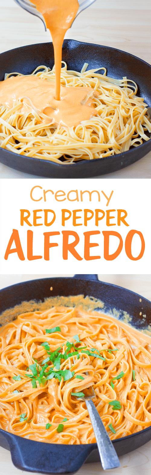 Easy 6 Ingredient Creamy Red Pepper Alfredo Sauce Recipe