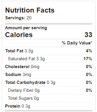 Coconut Whipped Cream Nutrition Facts And Calories