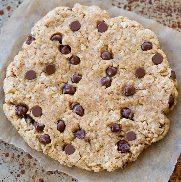 Giant Vegan Chocolate Chip Oatmeal Cookie