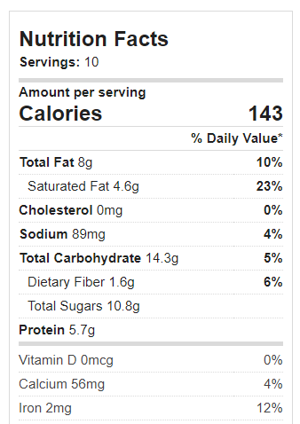 Chocolate Tofu Pie Nutrition Facts