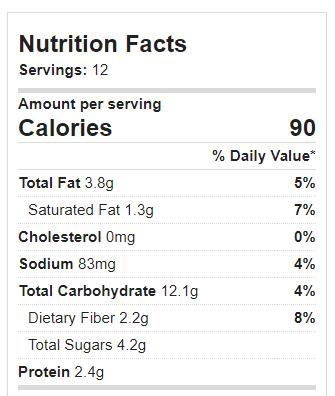 Lemon Blondies Nutrition Facts
