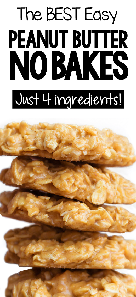 The Best Peanut Butter No Bake Cookie Recipe - Four Ingredients