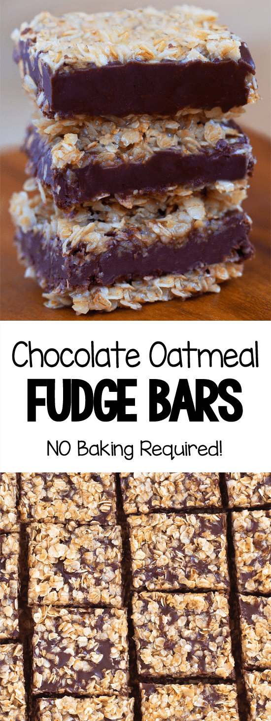 NO BAKE Gooey Chocolate Oatmeal Fudge Bars