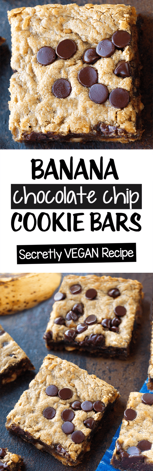 Secretly Vegan Chocolate Chip Cookie Banana Bars Recipe