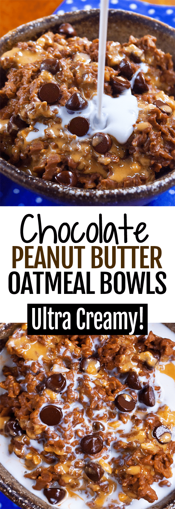 Single Serving Chocolate Peanut Butter Cup Oatmeal Bowls