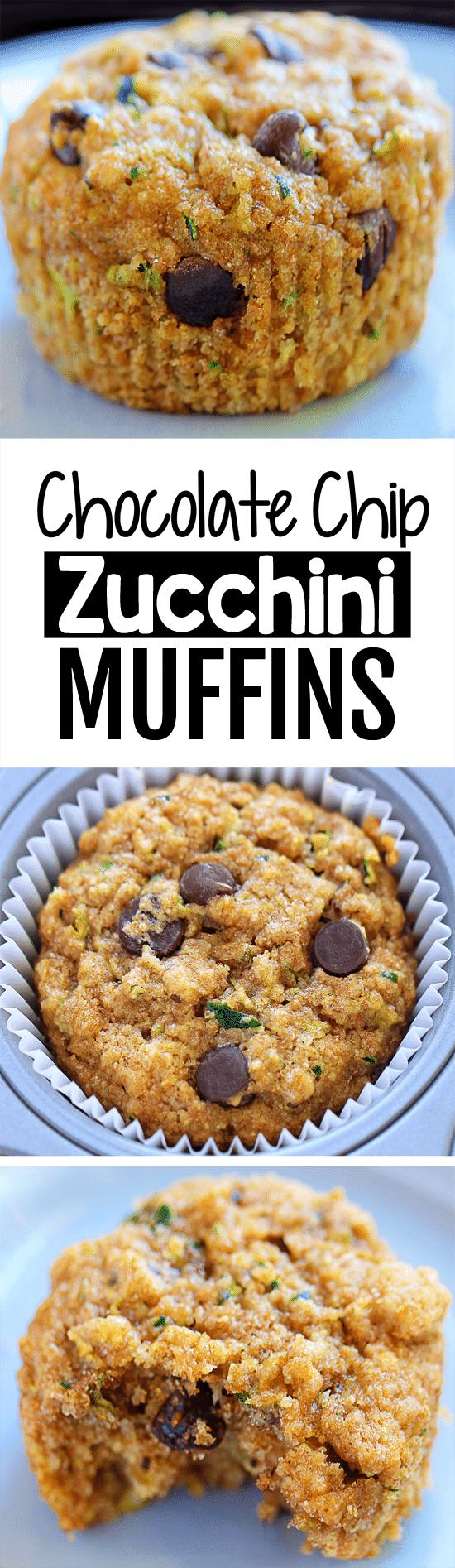 Homemade Healthy Chocolate Chip Zucchini Muffin Recipe
