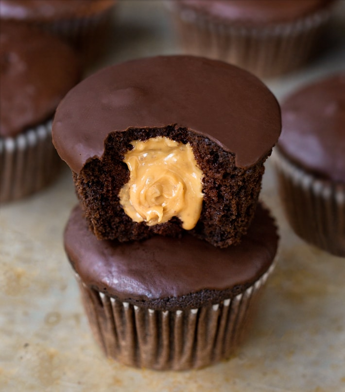 Chocolate Peanut Butter Filled Cupcake